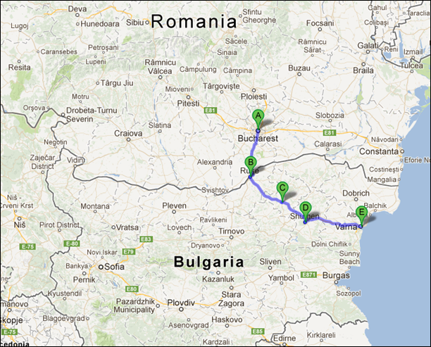 Trip from Bucharest to Varna
