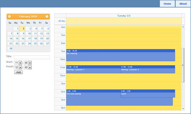 ASP.NET MVC based calendar