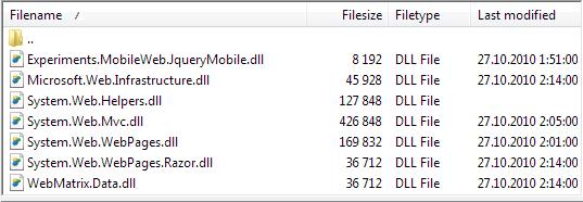 ASP.NET MVC 3 files