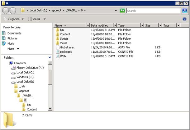 Web application folder in Windows Azure