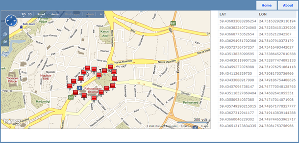 Bing Maps with push pins