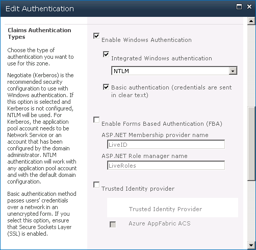Enable basic authentication