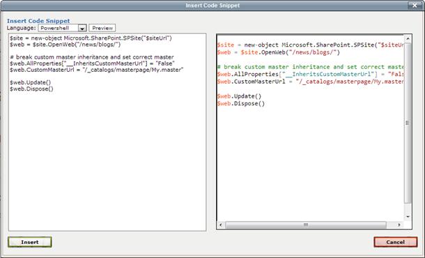 Codeplex insert code snipet
