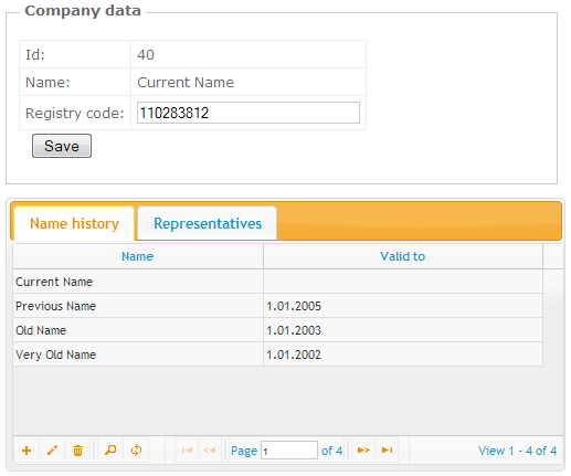 Company name history table
