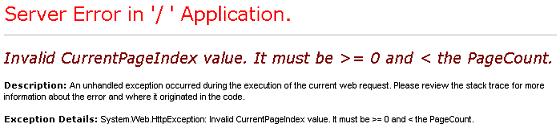 Invalid CurrentPageIndex value.