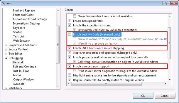 Visual Studio debug options