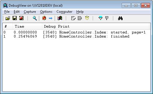 DebugView debug output