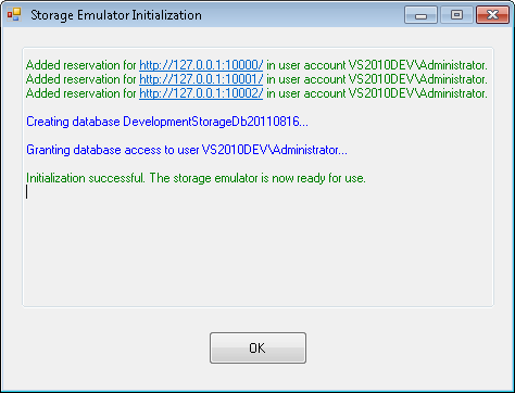 Storage Emulator Initialization