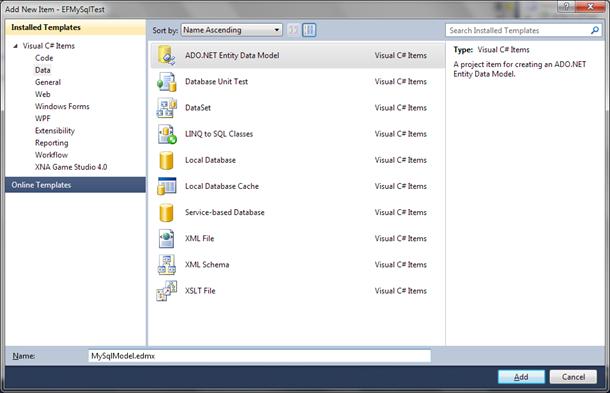 Add new Entity Framework model