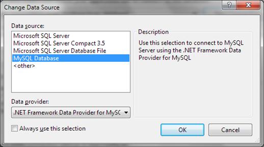 Change data source to MySQL