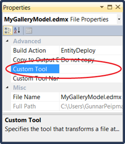 Enity Framework: Empty custom tool