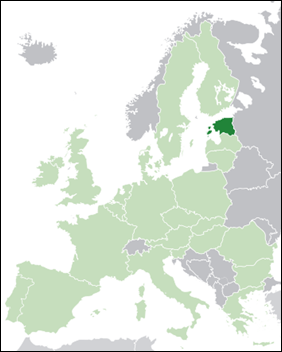 Estonia on Europe map