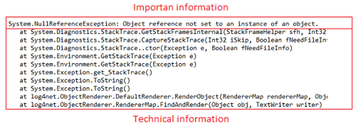 Exception - important and technical information