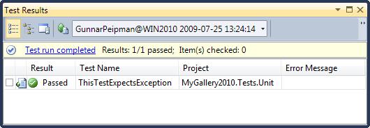 ExpectedException works on Visual Studio 2010