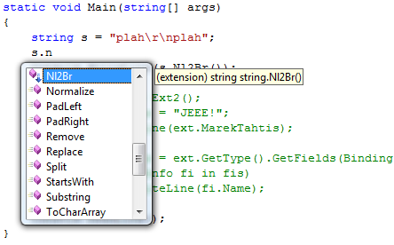 Extension methods are marked with down arrow in IntelliSense
