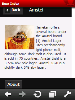 jQuery Mobile: Amstel on Opera Mobile 10