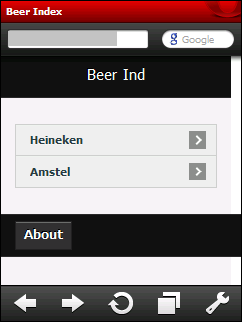 jQuery Mobile: Beer Index on Opera Mobile 10