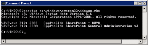 Find IIS process for SharePoint