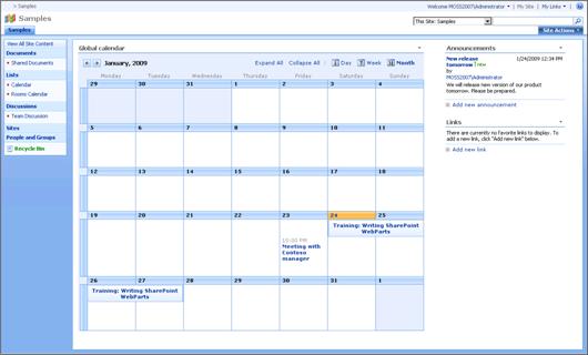 SharePoint global calendar