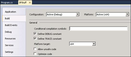 SP2010: Target platform must be .NET 3.5 and 64 bit