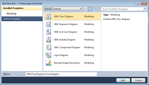 Visual Studio 2010: New UML diagram