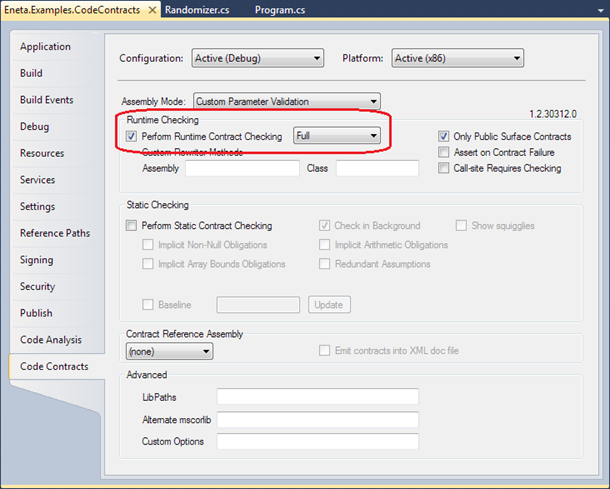 Visual Studio 2010: Runtime checking of code contracts