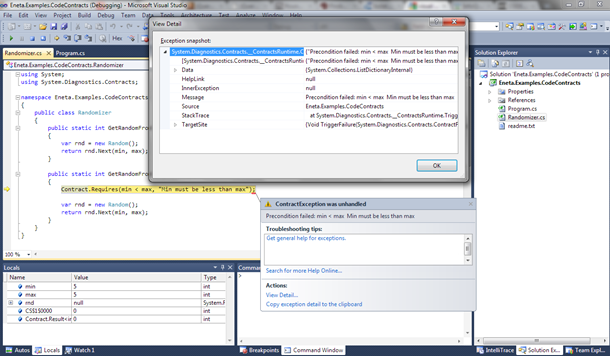 Visual Studio 2010: Runtime check of code contract threw exception