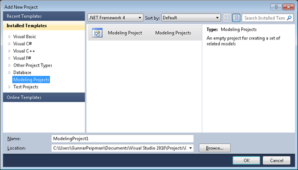 Visual Studio 2010: New modeling project