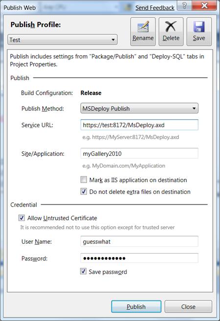 Visual Studio: Publish using MSDeploy