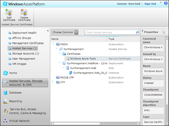 Add certificate to Windows Azure