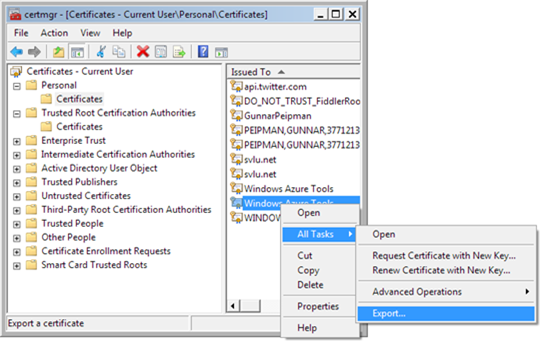 Get remote desktop certificate