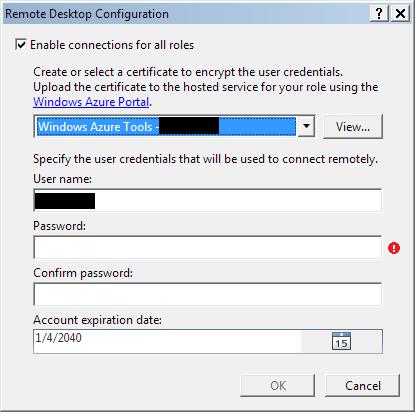 Windows Azure remote desktop settings
