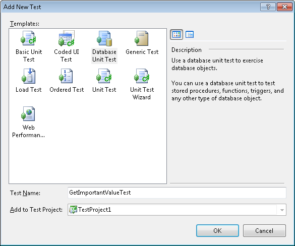 Visual Studio 2010: Add database unit test