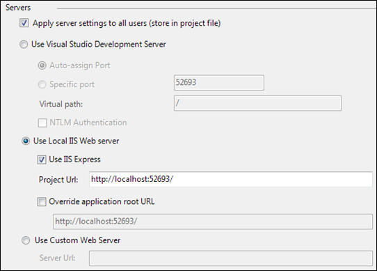 IIS Express settings