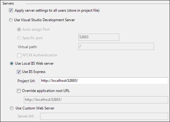 IIS Express settings