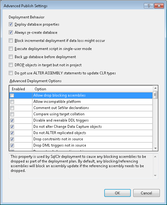 Advanced publish settings