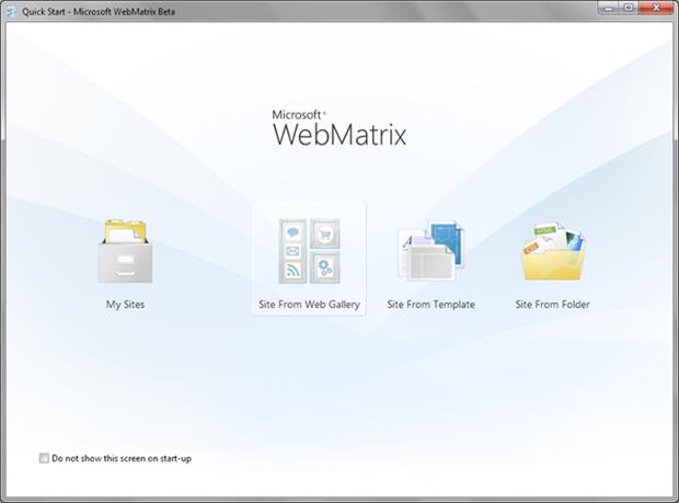 WebMatrix dashboard
