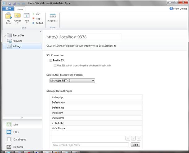 WebMatrix: Site settings