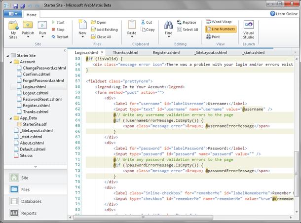 WebMatrix: Source code of login form of ASP.NET MVC Razor application