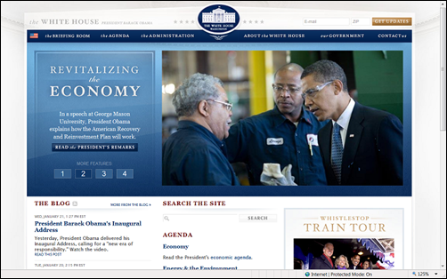 White House homepage on ASP.NET