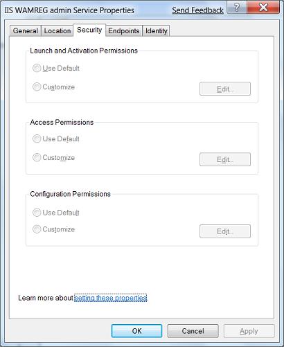 Cannot change IIS WAM permissions