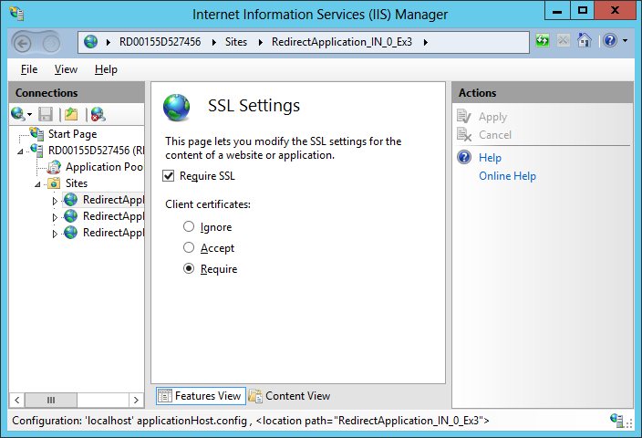 IIS on Windows Azure uses SSL and required client certificates