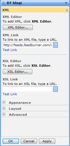 SharePoint XML web part properties