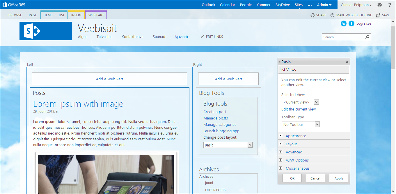 Office 365 public blog: Layout of front page