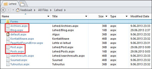 Office 365 public blog: Files used to mimic the blog