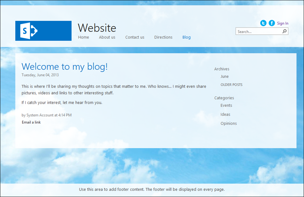 Office 365 public site: Default blog