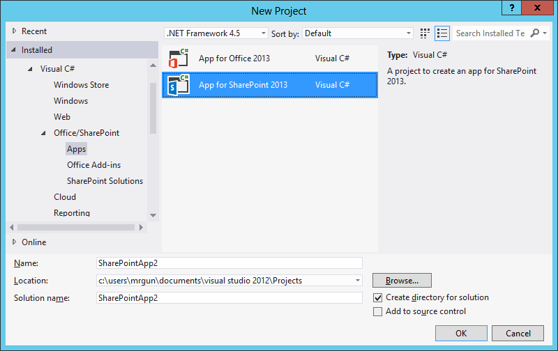 Visual Studio 2012: Create SharePoint 2013 autohosted app