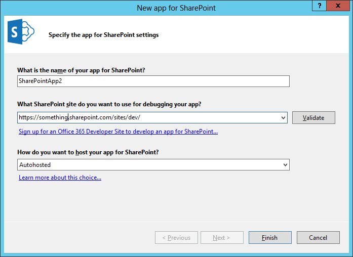 Visual Studio 2012: SharePoint 2013 autohosted app settings