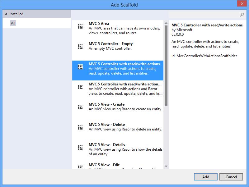 Visual Studio 2013: Select scaffold