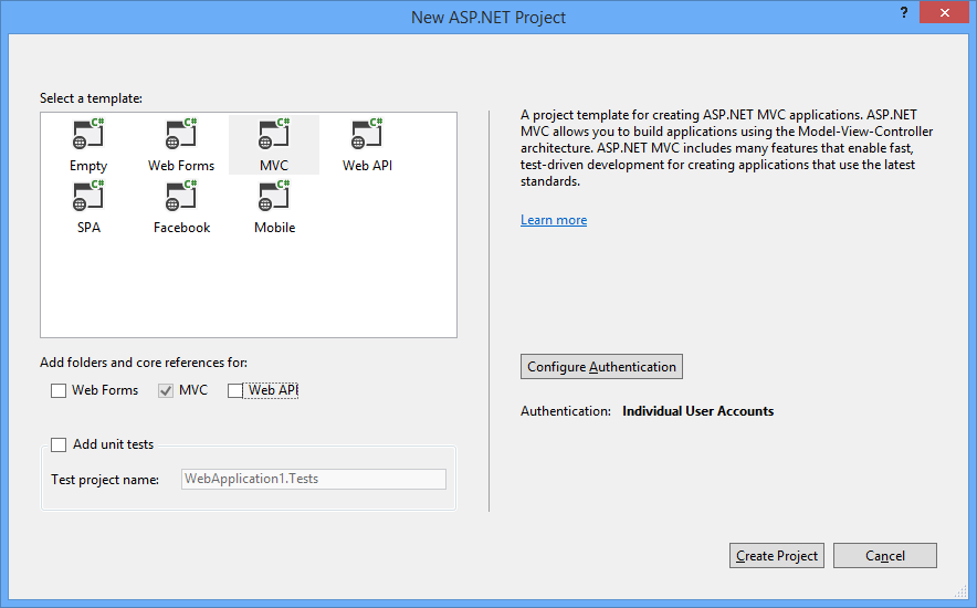 Visual Studio 2013: Select project template